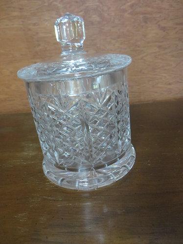 Vintage Fostoria Glass 24% Lead Crystal Hand Cut Pierrot Biscuit Barrel