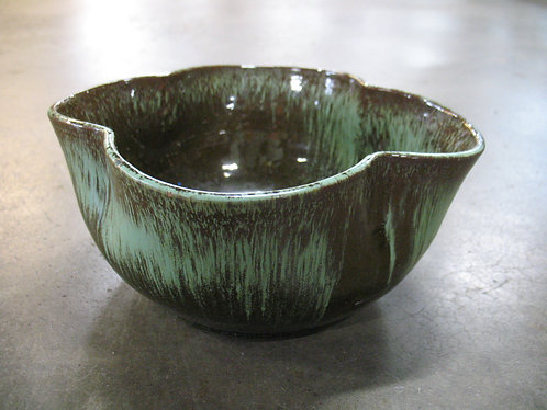Vintage Frankoma Style Quatrefoil Praririe Green Bowl