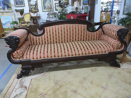 Antique (Circa 1830's) Empire Striped Upholstery Sofa