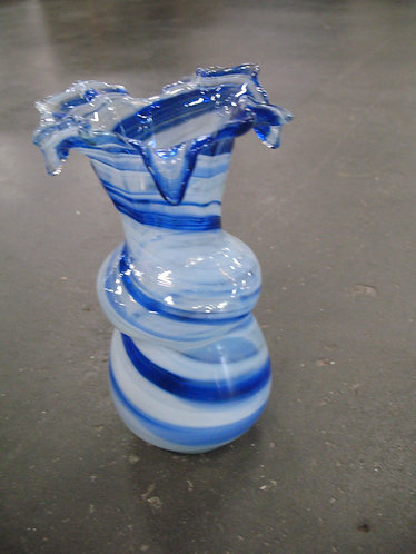 Hand Blown Blue and White Art Glass Vase