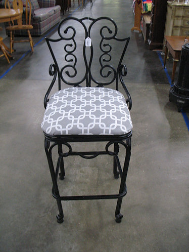 Black Wrought Iron Counter Height Swivel Seat Upholstered Bar Stool