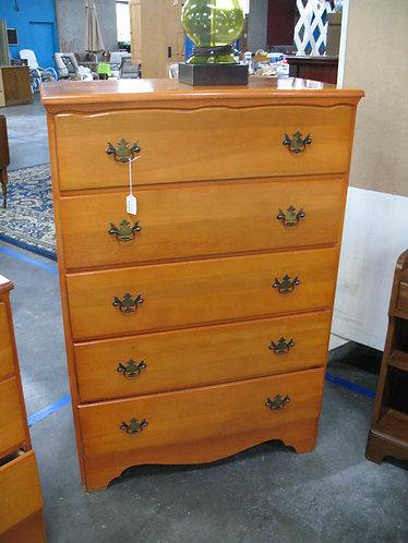 Vintage Maple Five Drawer Dresser