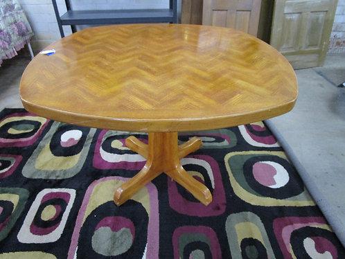 Vintage Pedestal Herringbone Square Dining Table