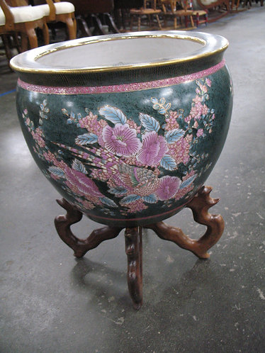 Vintage Green/Pink/Gold Oriental Floral Planter Pot with Wood Stand