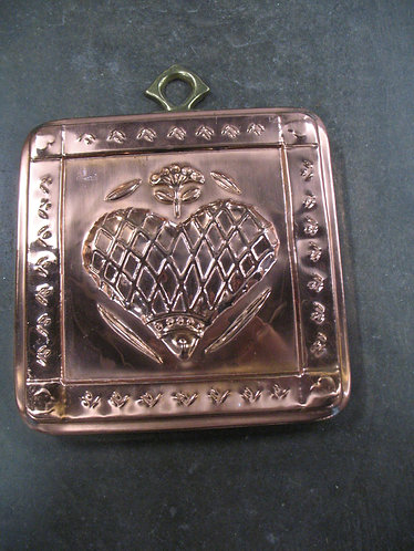 Vintage Copper on Tin Heart and Flower Mold Wall Decor