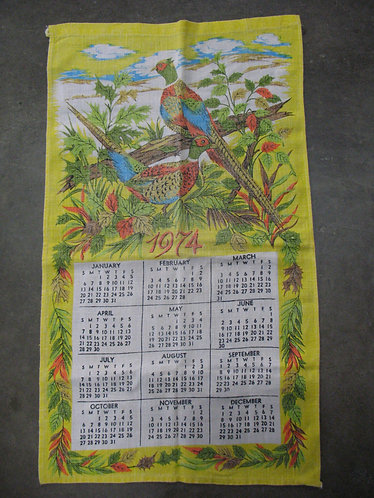 Vintage 1974 Fabric Floral & Pheasant Wall Calendar