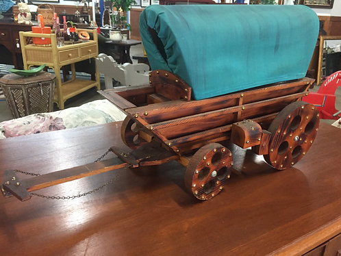 Vintage Wood Covered Wagon with Hitch and Wagon Cover