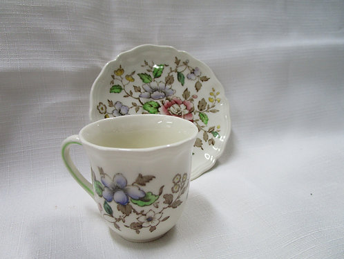 """Royal Doulton """"Monmouth"""" Demitasse Wild Flower Teacup and Saucer"""