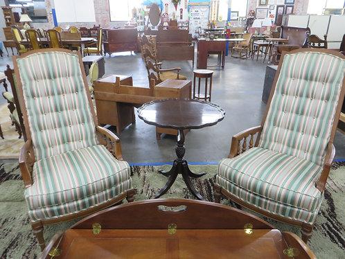 Vintage Wood Frame Upholstered Tufted Back Chairs Set of 2