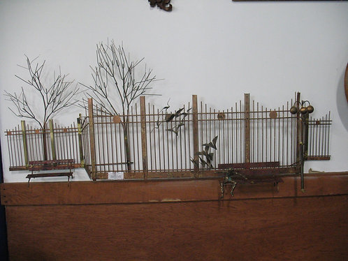 1972 C. Jere Artist Signed Copper & Brass Fence and Bench Wall Art Sculpture