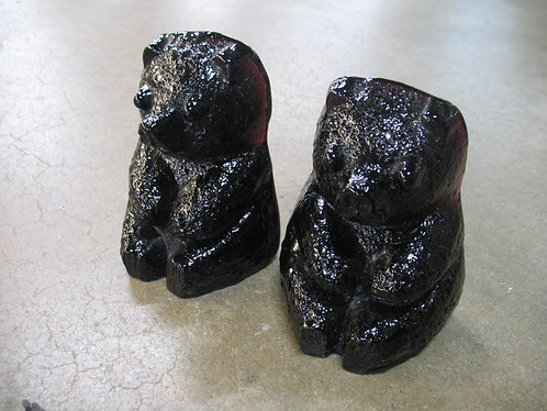 Vintage Blenko Black Amethyst Glass Bear Bookends Pair