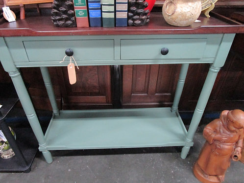 Modern Country Green with Stained Wood Top Console Entryway Table