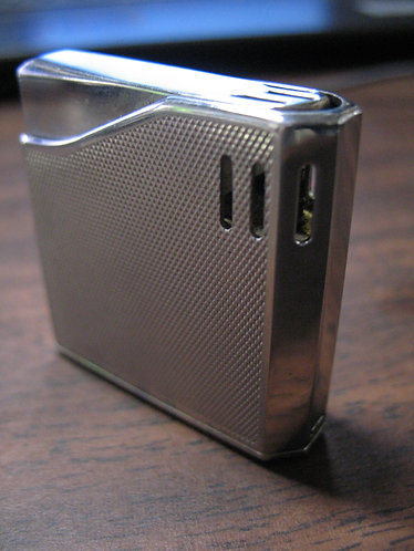 Maruman Halley Silver Tone Diamond Pattern Electronic Gas Lighter