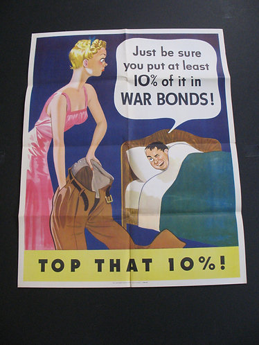 Original 1942 WWII Top That 10% War Poster