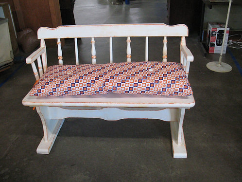 Handpainted Solid Wood Trestle Base Bench with Clemson Seat Cushion