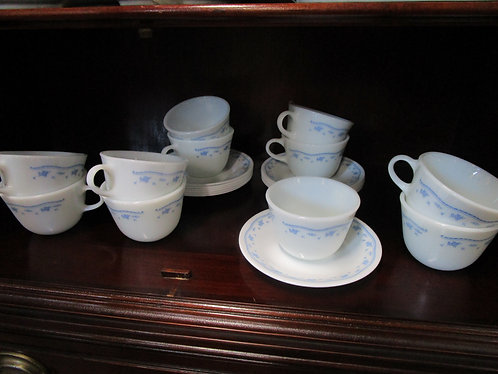 Vintage Pyrex Corelle Morning Blue Teacup & Saucer Service for 11