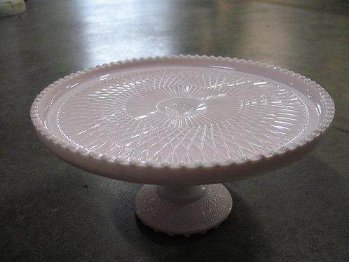 Vintage 1950's Jeanette Blush Pink Milk Glass Cake Stand