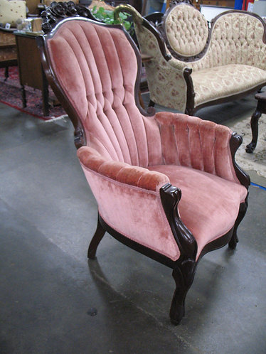 Vintage Pink Velour Channel Back Carved Arm Chair