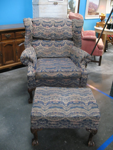 Vintage Massoud Wingback Chair and Ottoman