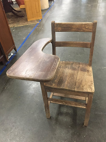 Vintage Oak Student Chair with Side Desk