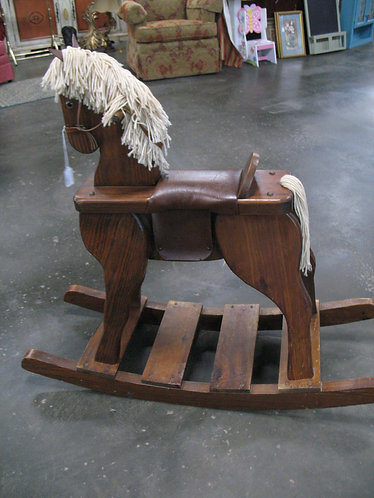 Vintage Handcrafted Wood Rocking Horse