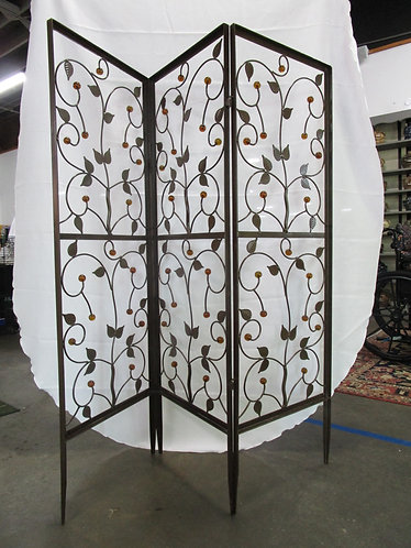 Metal Room divider, Leaves with Amber Beads