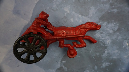 Cast Iron Racing Horse and Surrey Toy, Reproduction: Vintage