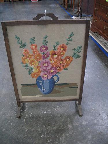 Vintage Floral Needlework Oak Frame Fireplace Screen