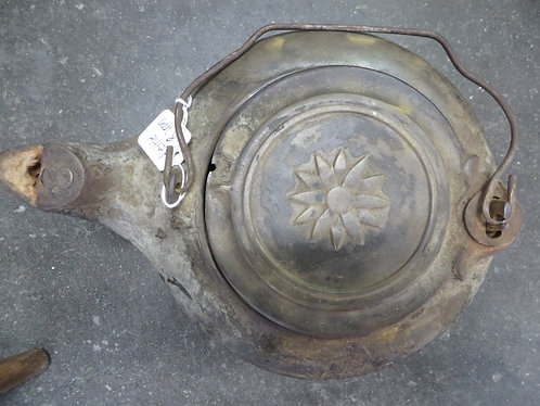 Antique Cast Iron Tea Kettle with Embossed Flower on Lid