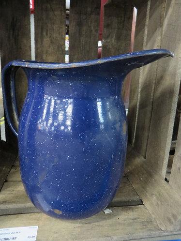 Vintage Blue Spatterware Round Bottom Enamelware Pitcher - Geuder Paeschke & Fre