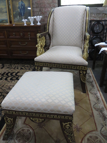 French Empire Napoleonic Reproduction Mahogany Swan Arm Chair with Ottoman