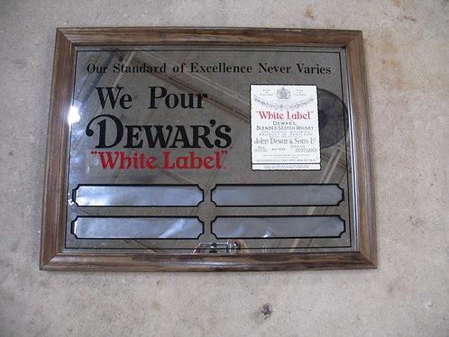Vintage Dewar's White Label Whisky Bar Mirror