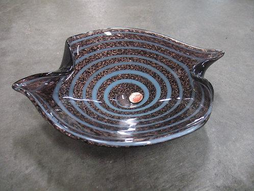 Murano Metallic Swirl Crimped Bowl