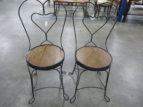 Antique Ice Cream Table Metal Chairs Set of 2