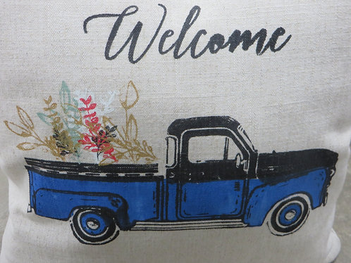 Handcrafted Welcome Vintage Blue Pickup Truck Pillow