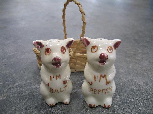 Vintage Ceramic I'm Salt/I'm Pepper Pig Salt/Pepper Set