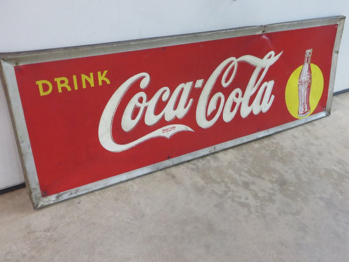 Vintage 1930's Coca Cola Advertising 5' foot Metal Sign