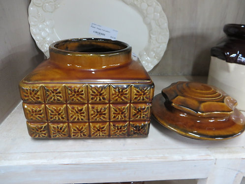 Earthernware Brown Square Mid Century canister