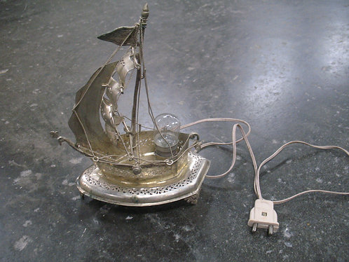 Vintage European Import Silverplate Sailing Ship Accent Night Light