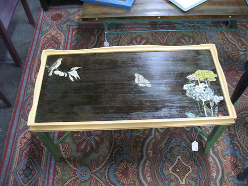 Vintage Coffee Table Custom Painted with Floral/Butterfly Transfers
