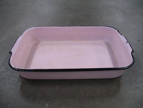 Vintage Pink/Black Enamel Rectangular Baking Cake Pan