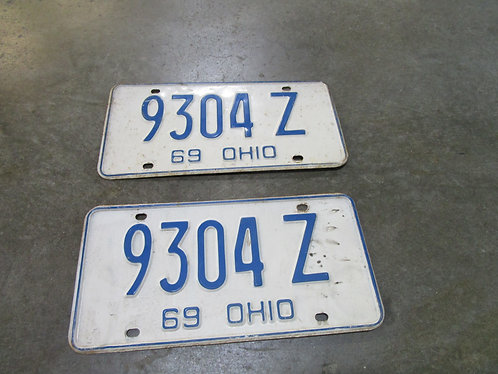 1969 Ohio 9304 Z Matched Pair License Plate Set