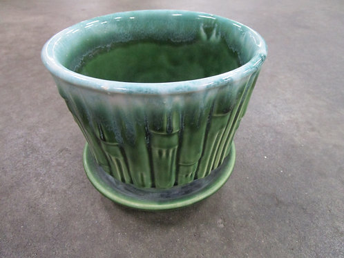 Vintage McCoy 0373 Green Drip Glaze Bamboo Planter with Attached Saucer