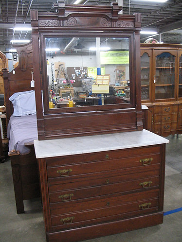 Vintage Eastlake Dresser with Marble top and Attached Mirror