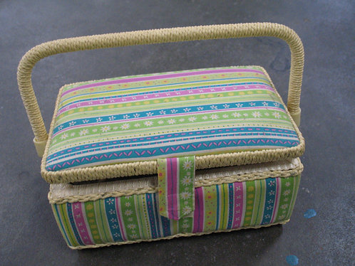 Vintage Fabric and Woven Sewing Basket with Accessories