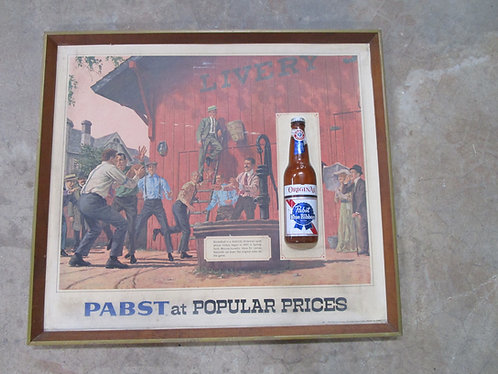 1960's Pabst Blue Ribbon Beer Basketball Bar Ad Sign