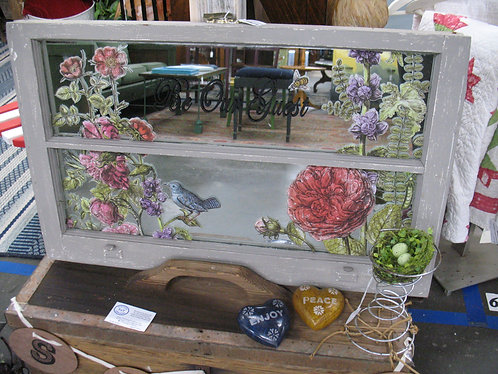"""Vintage Two Pane Mirrored Window """"Be Our Guest"""" Wall Decor"""