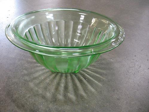 Vintage Vaseline Ribbed Glass Large Mixing Bowl