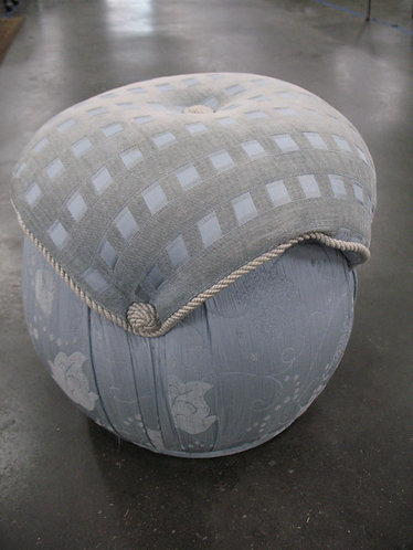 Upholstered Blue/Grey Checked/Floral Hassock Footstool