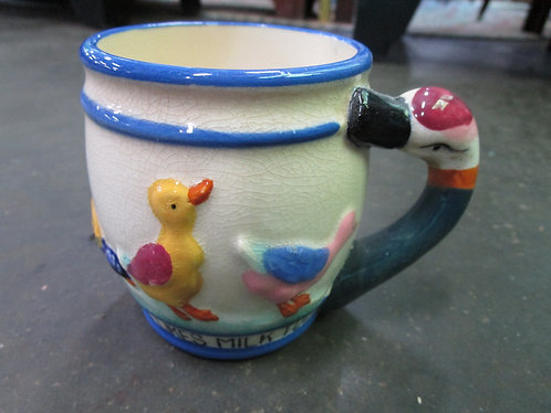 Vintage Shofford Hand Decorated Duckie Likes Milk Too Cup